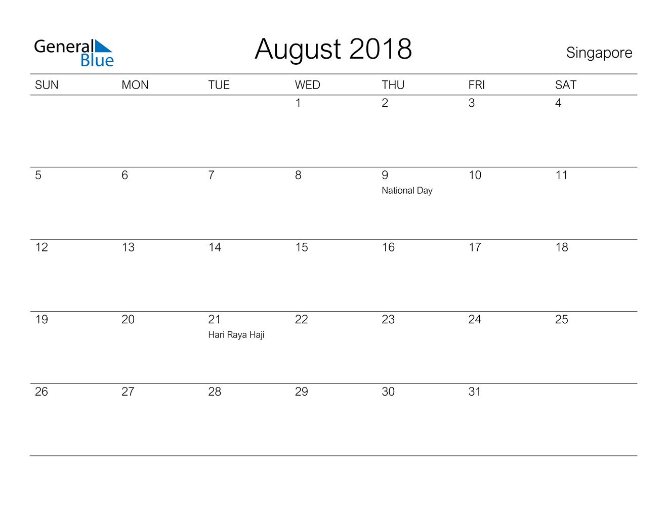 Image of August 2018 A Streamlined Design, The Perfect Printable Calendar. Calendar