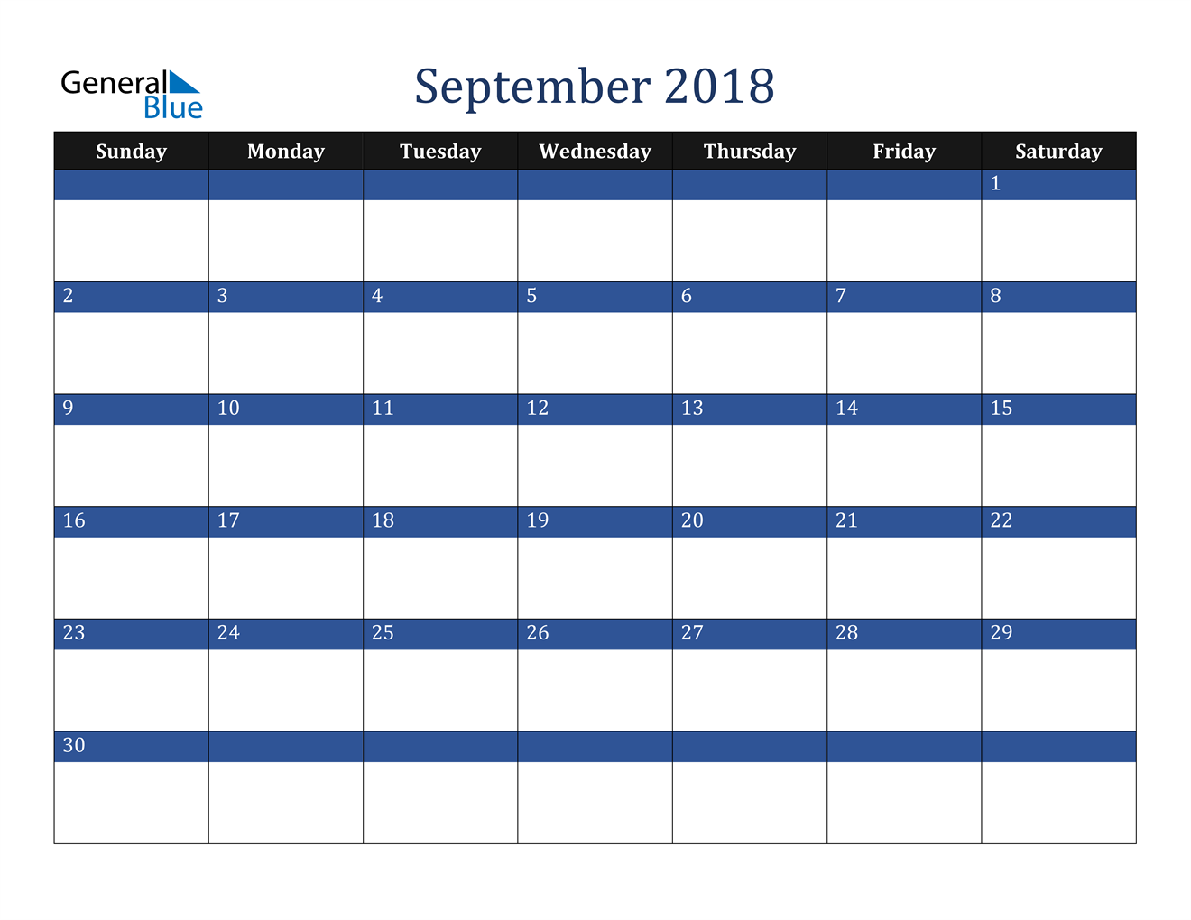 Image of September 2018 Stylish Dark Blue Calendar in PDF, Word and Excel Calendar