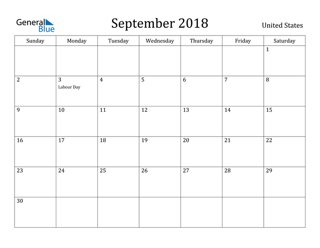Image of September 2018 United States Calendar with Holidays Calendar