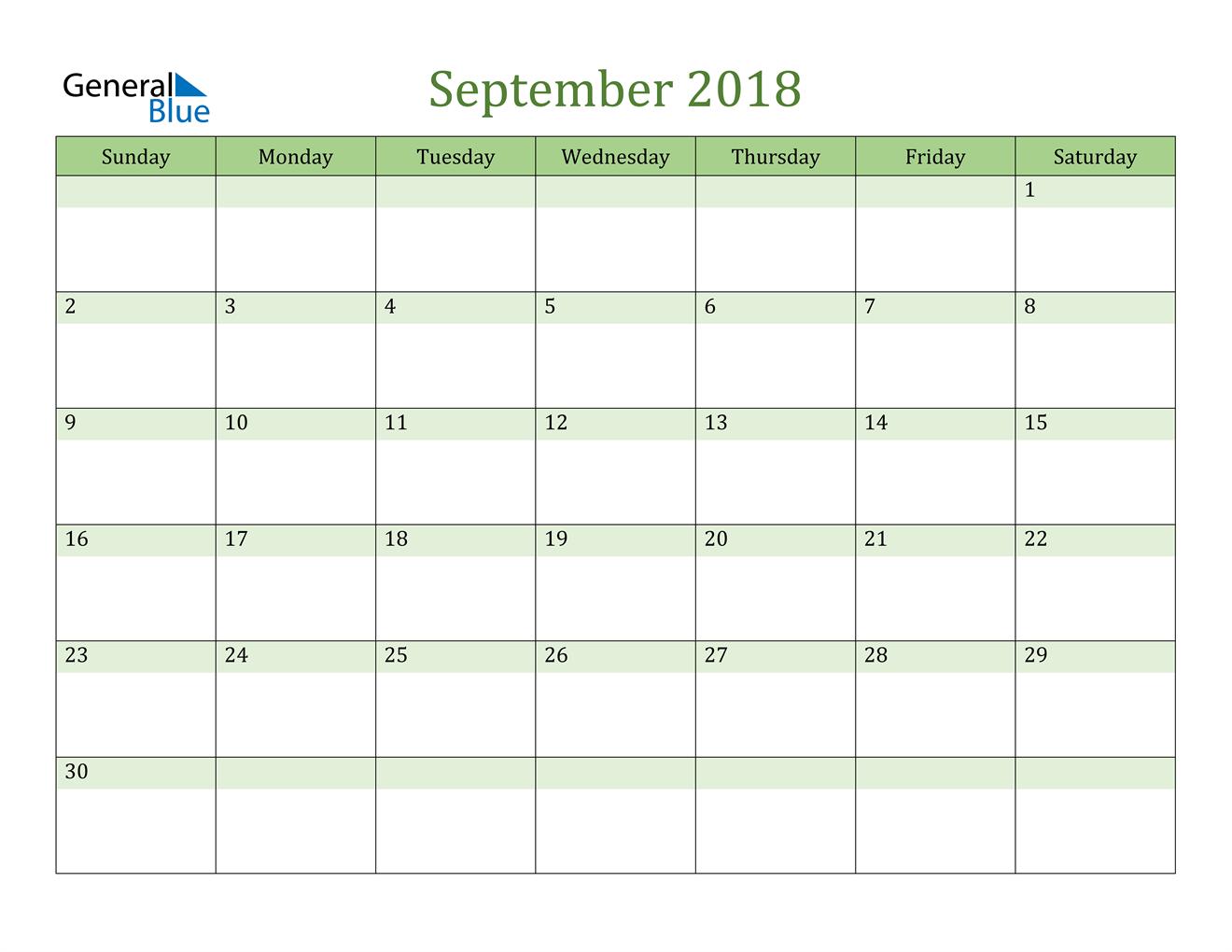 Image of September 2018 Cool and Relaxing Green Calendar Calendar