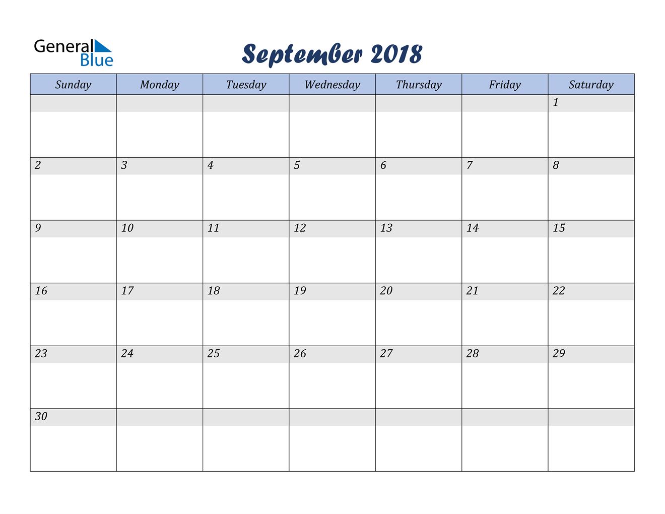 Image of September 2018 Italicized and Cool Blue, A Fun Calendar in PDF, Word and Excel Calendar