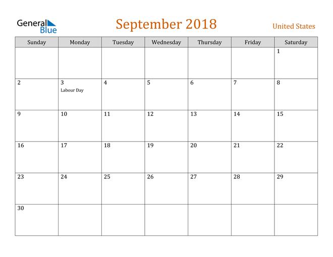 Image of September 2018 Contemporary Orange PDF, Word and Excel Calendar Calendar