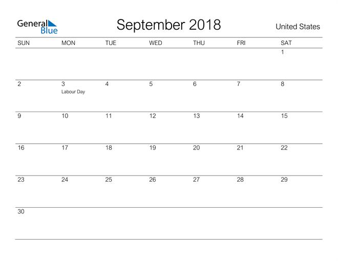 Image of September 2018 A Streamlined Design, The Perfect Printable Calendar. Calendar