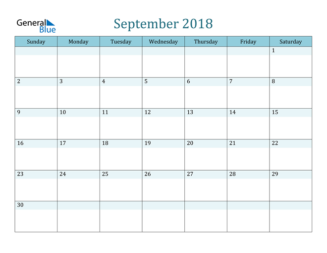 Image of September 2018 Colorful Turquoise Calendar in PDF, Word and Excel Calendar