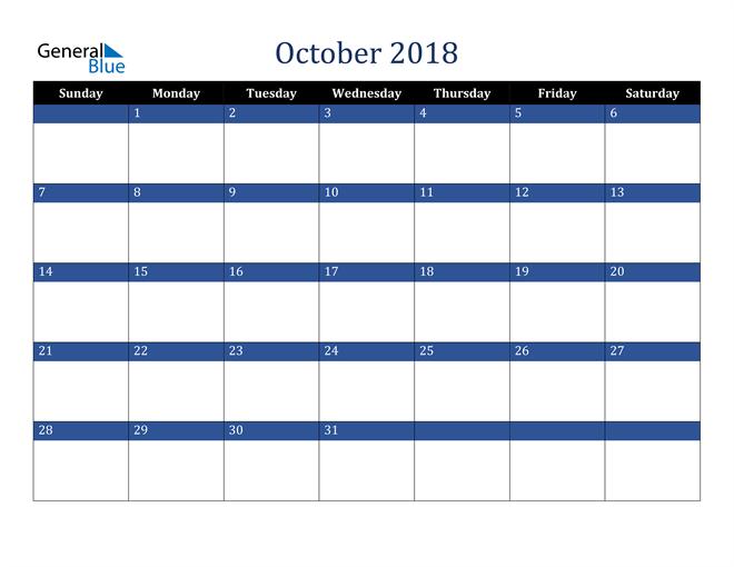 Image of October 2018 Stylish Dark Blue Calendar in PDF, Word and Excel Calendar