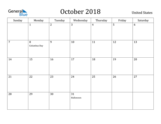 Image of October 2018 United States Calendar with Holidays Calendar