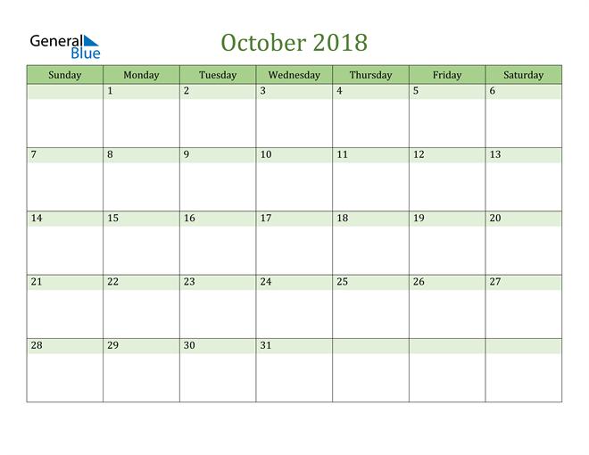 Image of October 2018 Cool and Relaxing Green Calendar Calendar