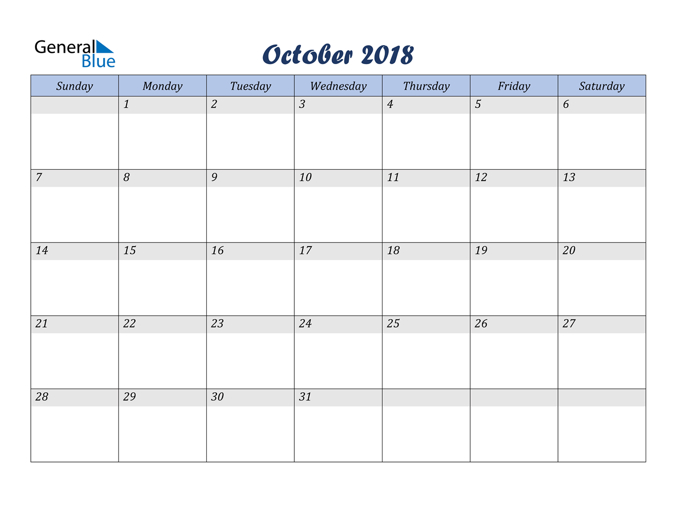Image of October 2018 Italicized and Cool Blue, A Fun Calendar in PDF, Word and Excel Calendar