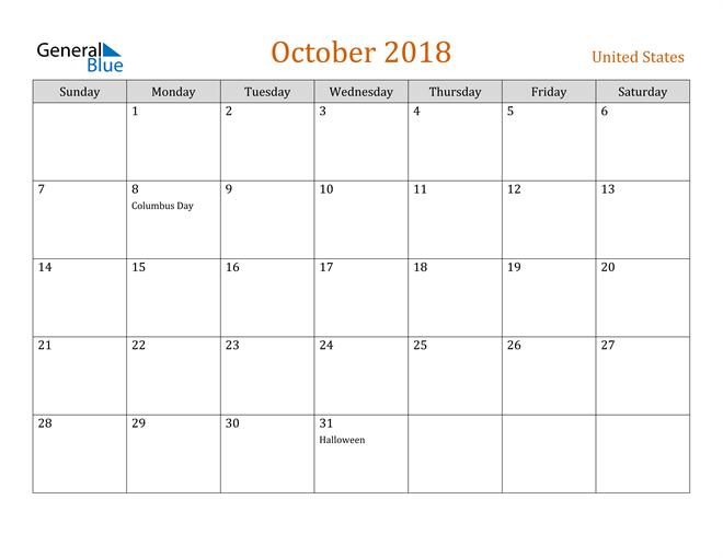 Image of October 2018 Contemporary Orange PDF, Word and Excel Calendar Calendar