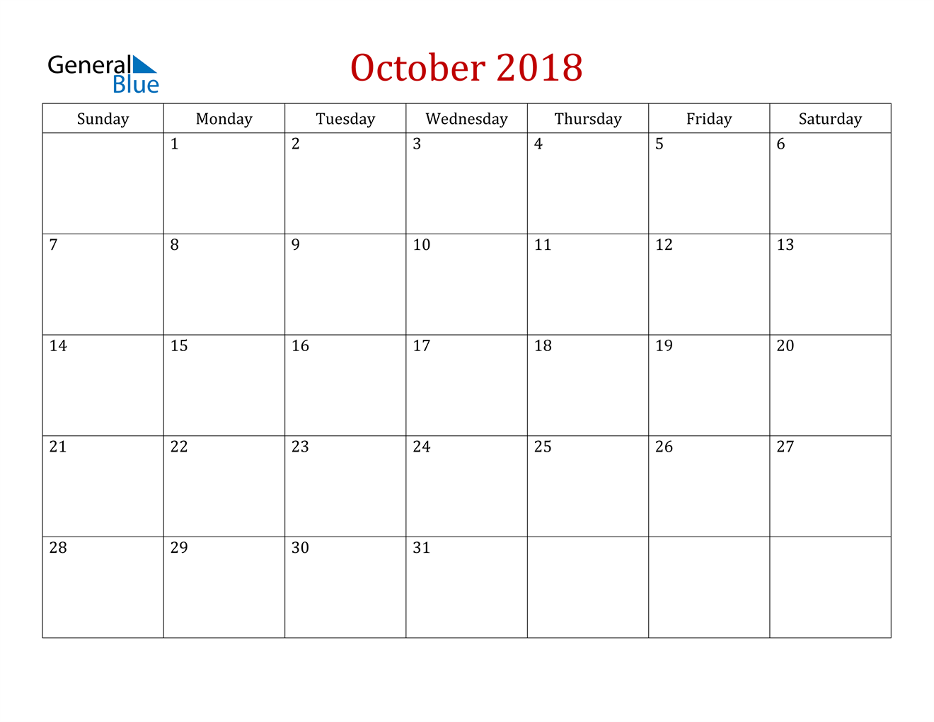 Image of October 2018 Dark and Red Professional Office Calendar Calendar
