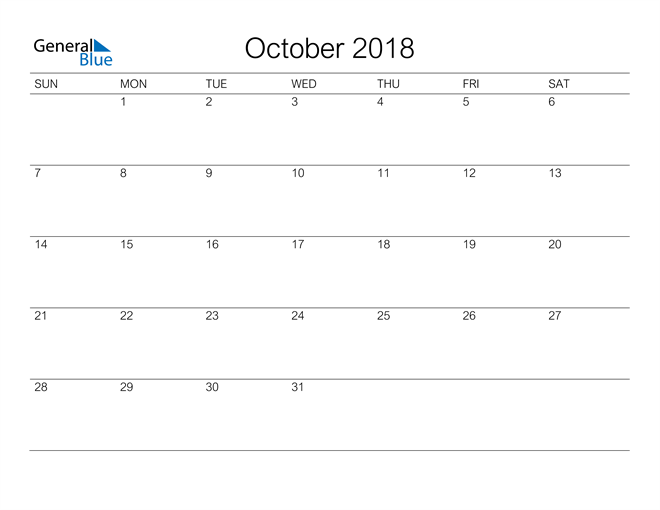 Image of October 2018 A Streamlined Design, The Perfect Printable Calendar. Calendar