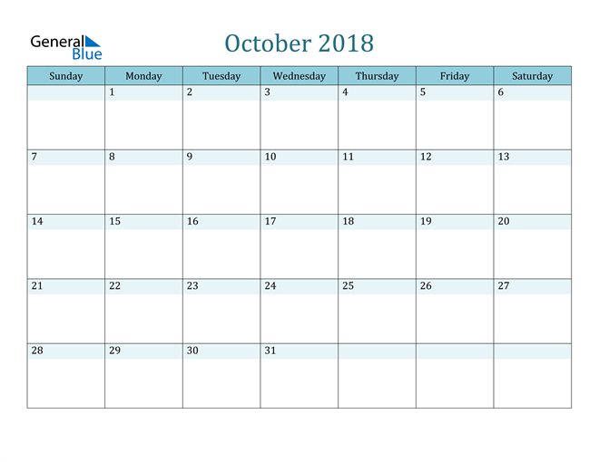 Image of October 2018 Colorful Turquoise Calendar in PDF, Word and Excel Calendar