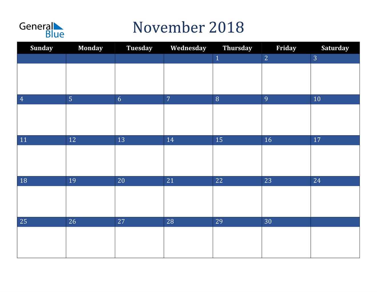 Image of November 2018 Stylish Dark Blue Calendar in PDF, Word and Excel Calendar