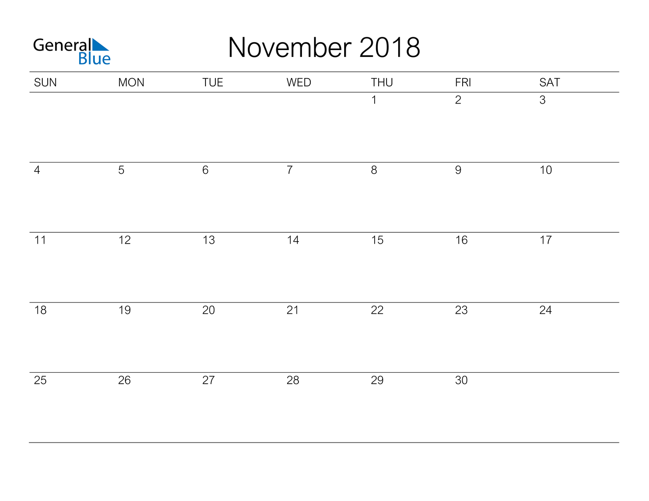 Image of November 2018 A Streamlined Design, The Perfect Printable Calendar. Calendar