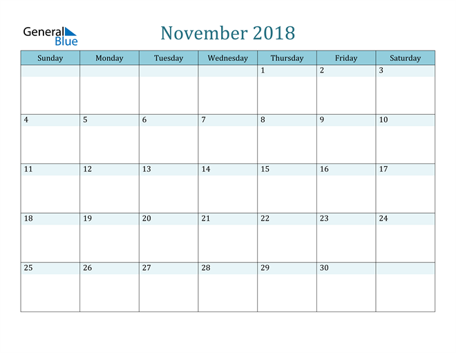 Image of November 2018 Colorful Turquoise Calendar in PDF, Word and Excel Calendar