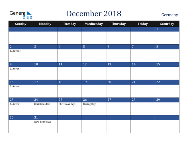 Image of December 2018 Stylish Dark Blue Calendar in PDF, Word and Excel Calendar