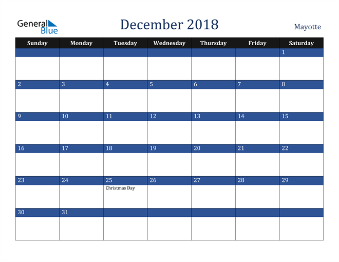 Image of December 2018 Stylish Dark Blue Calendar in PDF, Word and Excel Calendar