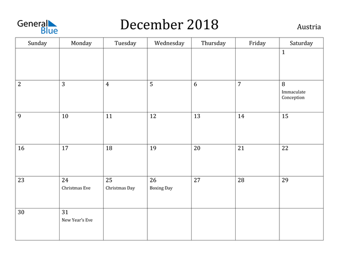 Image of December 2018 Austria Calendar with Holidays Calendar