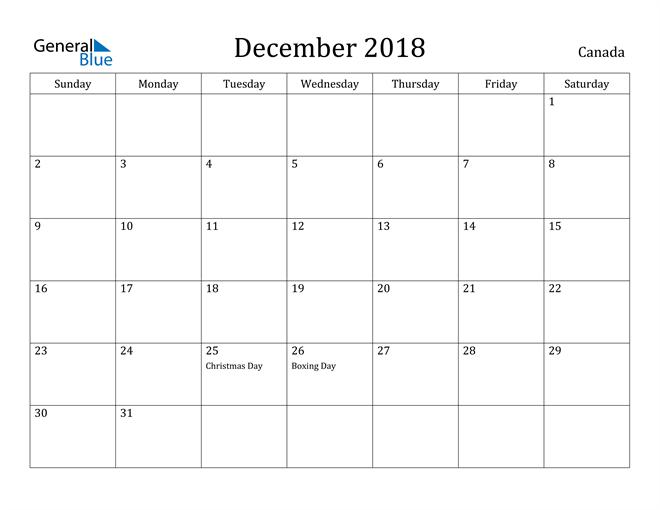 Image of December 2018 Canada Calendar with Holidays Calendar
