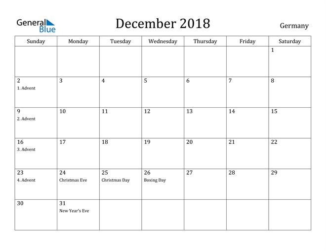 Image of December 2018 Germany Calendar with Holidays Calendar