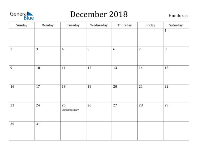 Image of December 2018 Honduras Calendar with Holidays Calendar
