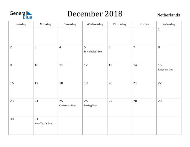Image of December 2018 Netherlands Calendar with Holidays Calendar