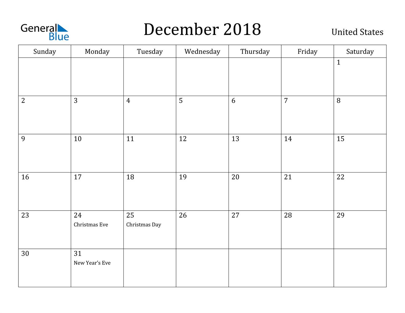 Image of December 2018 United States Calendar with Holidays Calendar