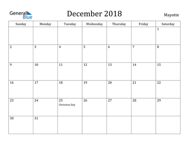 Image of December 2018 Mayotte Calendar with Holidays Calendar