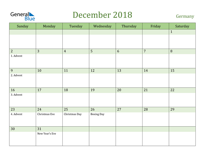 Image of December 2018 Cool and Relaxing Green Calendar Calendar