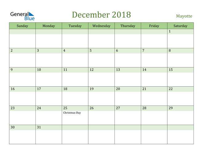 Image of December 2018 Cool and Relaxing Green Calendar Calendar