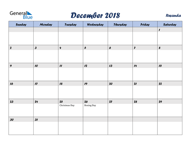 Image of December 2018 Italicized and Cool Blue, A Fun Calendar in PDF, Word and Excel Calendar