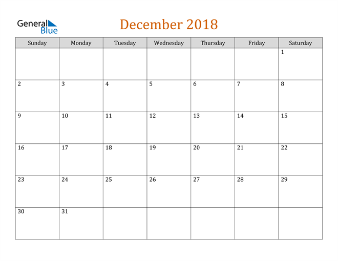 Image of December 2018 Contemporary Orange PDF, Word and Excel Calendar Calendar