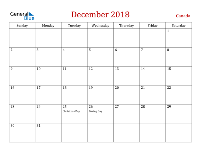 Image of December 2018 Dark and Red Professional Office Calendar Calendar
