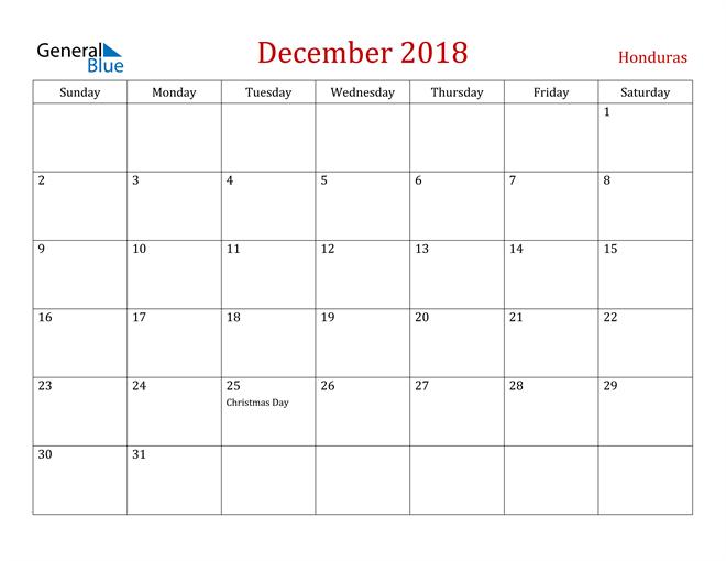 Image of December 2018 Dark and Red Professional Office Calendar Calendar