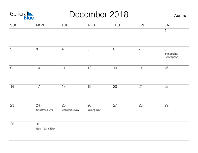 Image of December 2018 A Streamlined Design, The Perfect Printable Calendar. Calendar