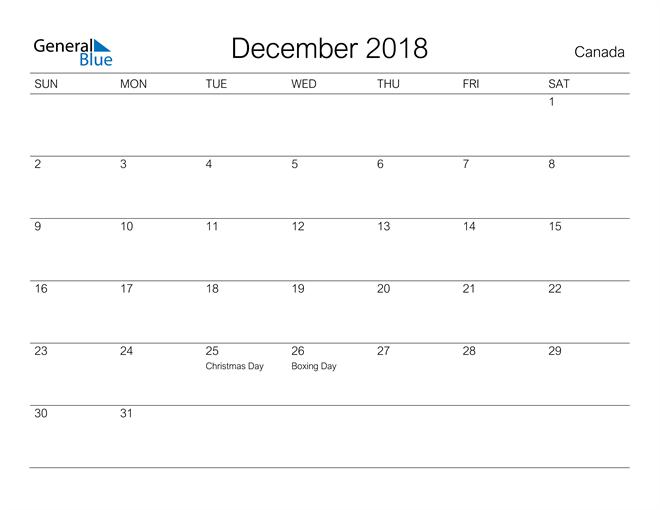 Image of December 2018 A Streamlined Design, The Perfect Printable Calendar. Calendar