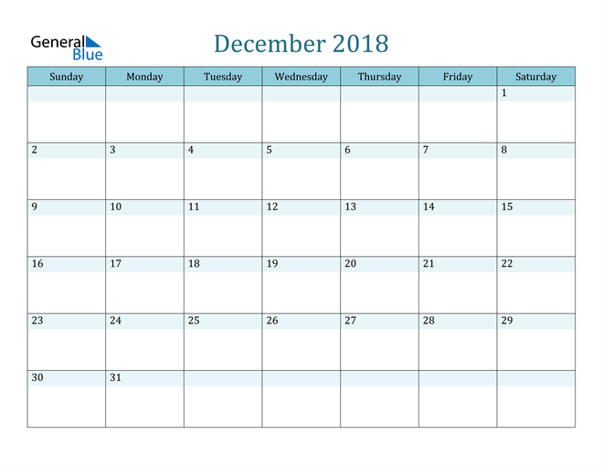 Image of December 2018 Colorful Turquoise Calendar in PDF, Word and Excel Calendar