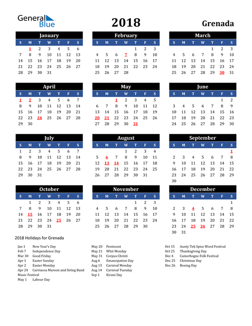 Image of Grenada 2018 Calendar in Blue and Black with Holidays