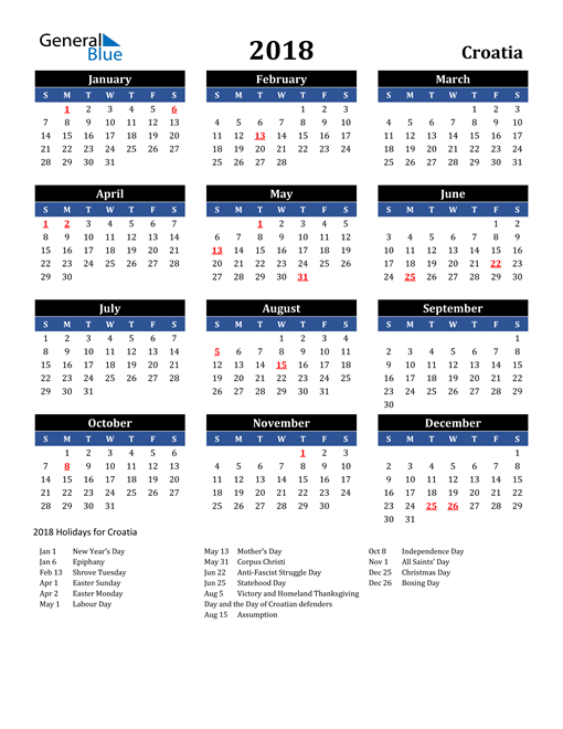 Image of Croatia 2018 Calendar in Blue and Black with Holidays