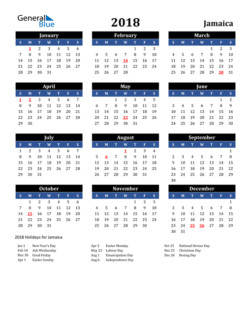 Image of Jamaica 2018 Calendar in Blue and Black with Holidays