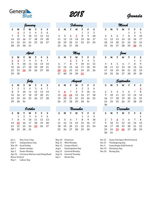 Image of 2018 Calendar in Script for Grenada