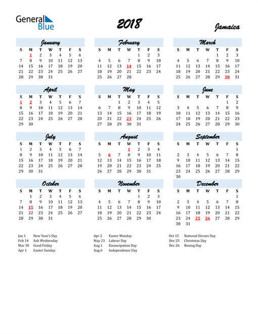 Image of 2018 Calendar in Script for Jamaica