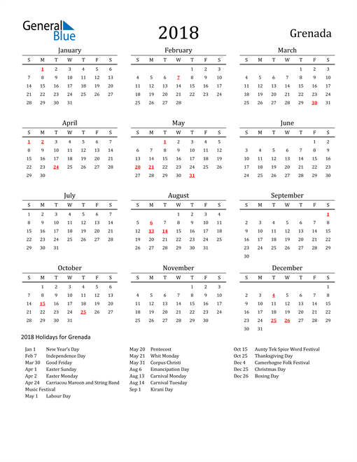Image of 2018 Printable Calendar Classic for Grenada with Holidays