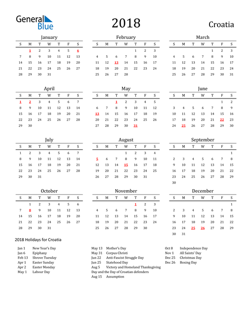 Image of 2018 Printable Calendar Classic for Croatia with Holidays