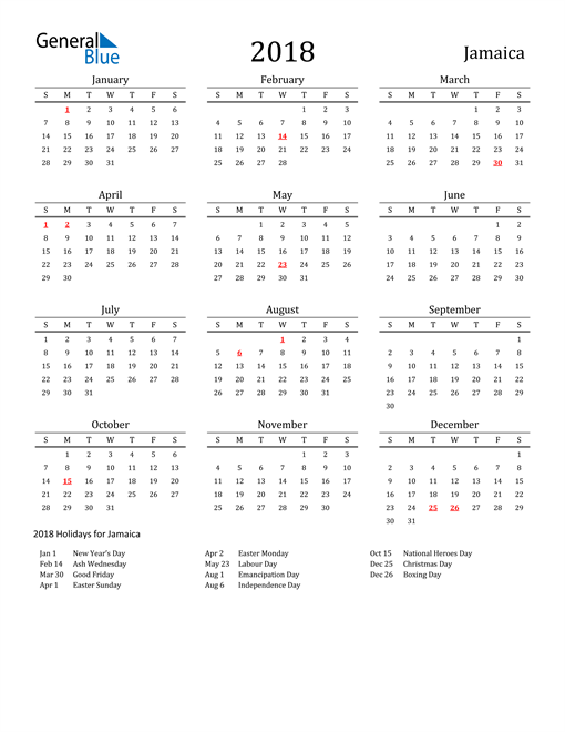 Image of 2018 Printable Calendar Classic for Jamaica with Holidays