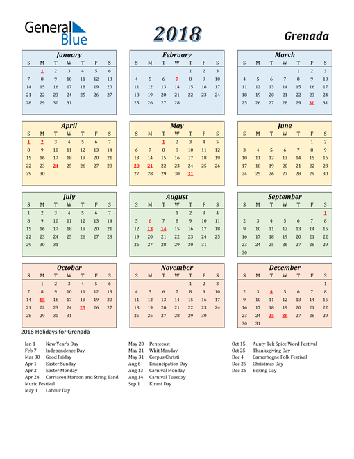 Image of Grenada 2018 Calendar with Color with Holidays