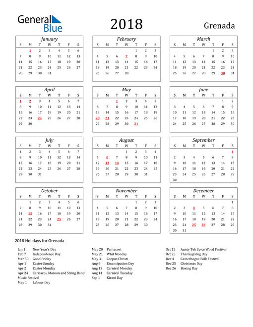Image of Grenada 2018 Calendar Streamlined Version with Holidays