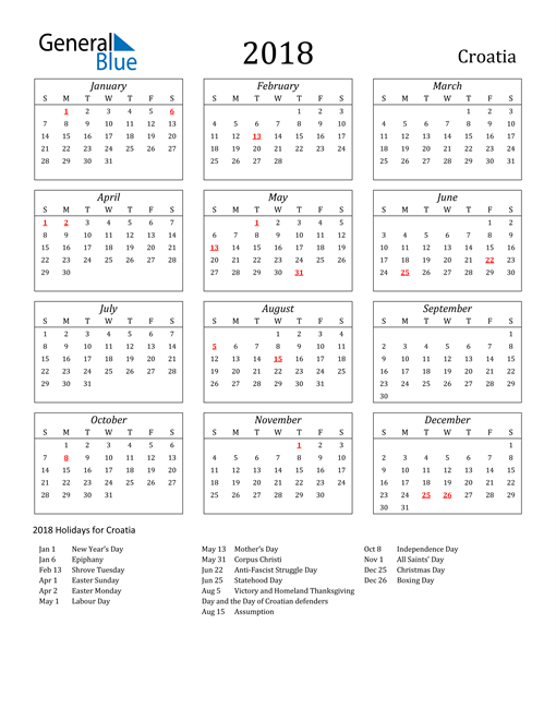 Image of Croatia 2018 Calendar Streamlined Version with Holidays