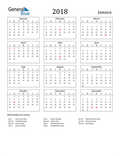 Image of Jamaica 2018 Calendar Streamlined Version with Holidays