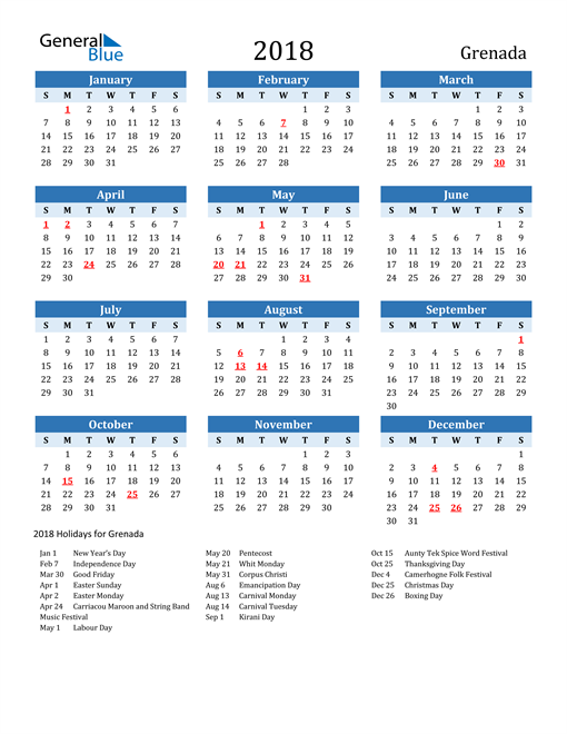 Image of Grenada 2018 Calendar Two-Tone Blue with Holidays